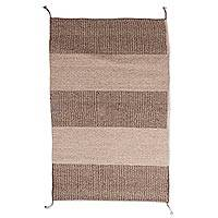 Zapotec wool area rug, 'Earthen Lands' (2x3) - Striped Zapotec Wool Area Rug from Mexico (2x3)