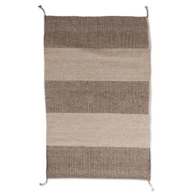 Striped Zapotec Wool Area Rug from Mexico (2x3)