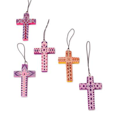Wood alebrije ornaments, 'Colorful Crosses' (set of 5) - Hand-Painted Wood Alebrije Cross Ornaments (Set of 5)