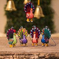 Wood alebrije ornaments, 'Colorful Peacocks' (set of 5)