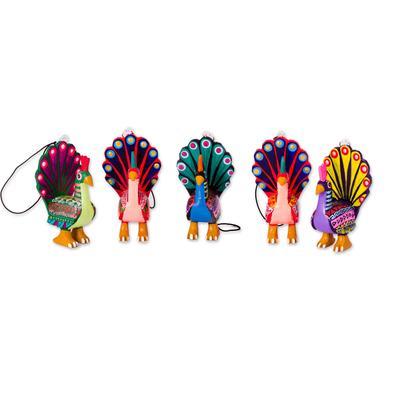 Wood alebrije ornaments, 'Colorful Peacocks' (set of 5) - Hand-Painted Wood Alebrije Peacock Ornaments (Set of 5)
