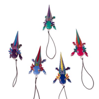 Wood alebrije ornaments, 'Colorful Axolotl' (set of 5) - Hand-Painted Wood Alebrije Axolotl Ornaments (Set of 5)