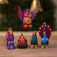 Wood alebrije ornaments, 'Magic Birds' (set of 5)