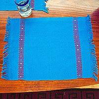 Cotton placemats, 'Cyan Light' (pair) - Handwoven Cyan Cotton Placemats from Mexico (Pair)