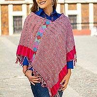 Cotton poncho, 'Afternoon Geometry' - Cerise and Eggshell Cotton Poncho Crafted in Mexico