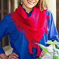 Cotton scarf, 'Passionate Afternoon' - Cerise and Claret Cotton Wrap Scarf Crafted in Mexico