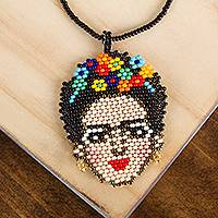 Glass beaded pendant necklace, 'Fantastic Frida' - Frida-Themed Glass Beaded Pendant Necklace from Mexico