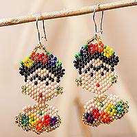 Glass beaded dangle earrings, 'Frida Beads' - Frida Kahlo Glass Beaded Dangle Earrings from Mexico