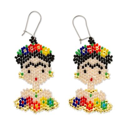 Glass beaded dangle earrings, 'Frida Beads' - Frida Kahlo Glass Beaded Dangle Earrings from Mexico