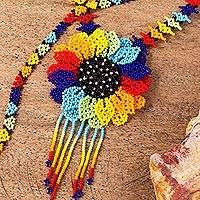 Glass beaded pendant necklace, 'Sunflower Color' - Colorful Floral Glass Beaded Pendant Necklace from Mexico