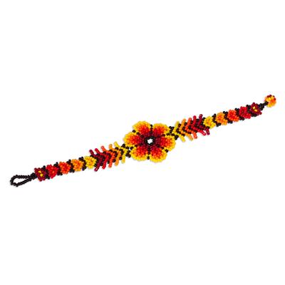 Glass beaded pendant bracelet, 'Flaming Flower' - Fiery Floral Glass Beaded Pendant Bracelet from Mexico
