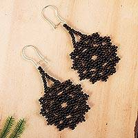 Glass beaded dangle earrings, 'Floral Huichol' - Black Floral Glass Beaded Dangle Earrings from Mexico