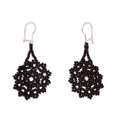 Glass beaded dangle earrings, 'Floral Huichol' - Black Floral Glass Beaded Dangle Earrings from Mexico