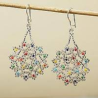 Glass beaded dangle earrings, 'Ethereal Flowers' - Clear and Colorful Floral Glass Beaded Dangle Earrings