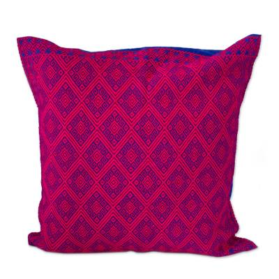 Cerise and Lapis Cotton Cushion Cover from Mexico