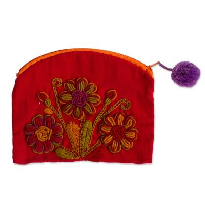Floral Embroidered Cotton Clutch in Crimson from Mexico