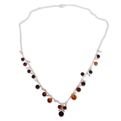Amber Y-necklace, 'Fantastic Circles' - Circular Amber Y-Necklace from Mexico