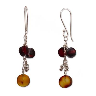Amber dangle earrings, 'Round Ancient' - Circular Amber Dangle Earrings from Mexico