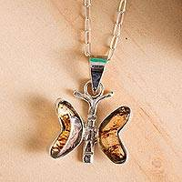 Amber pendant necklace, 'Ancient Butterfly' - Natural Amber Butterfly Pendant Necklace from Mexico