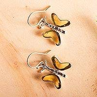 Amber dangle earrings, 'Ancient Butterfly' - Natural Amber Butterfly Dangle Earrings from Mexico