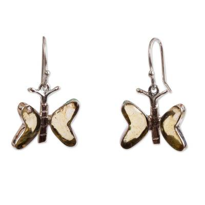 Amber dangle earrings, 'Ancient Butterfly' - Natural Amber Butterfly Dangle Earrings from Mexico
