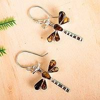 Amber dangle earrings, 'Age-Old Dragonflies' - Amber Dragonfly Dangle Earrings from Mexico