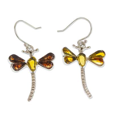 Amber dangle earrings, 'Age-Old Dragonflies' - Amber Dragonfly Dangle Earrings from Mexico