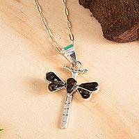 Amber pendant necklace, 'Age-Old Dragonflies' - Amber Dragonfly Pendant Necklace from Mexico