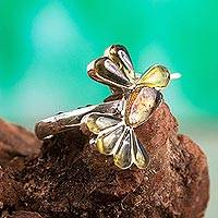 Amber wrap ring, 'Golden Wren' - Bird-Themed Wrap Ring Crafted in Mexico