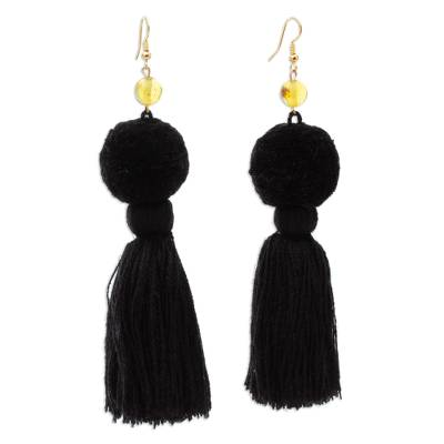 Amber Dangle Earrings with Jet Black Cotton Pompoms