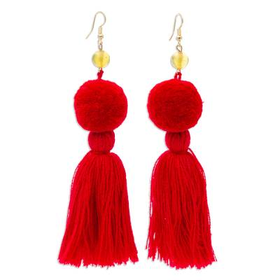 Amber Dangle Earrings with Claret Cotton Pompoms