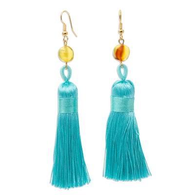 Amber Dangle Earrings with Aqua Tassels from Mexico