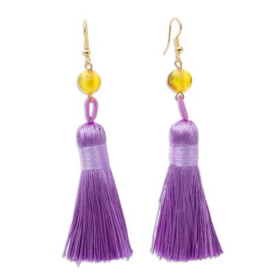Amber Dangle Earrings with Purple Tassels from Mexico