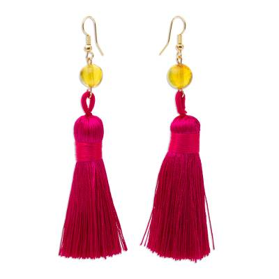 Amber Dangle Earrings with Cerise Tassels from Mexico