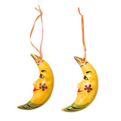 Artisan Crafted Ceramic Moon Ornaments from Mexico (Pair)