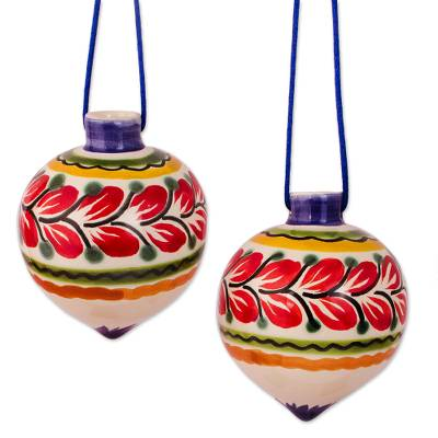 Artisan Crafted Ceramic Bauble Ornaments from Mexico (Pair)