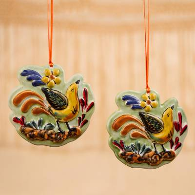 Ceramic ornaments, 'Colorful Birdsong' (pair) - Colorful Ceramic Bird Ornaments from Mexico (Pair)