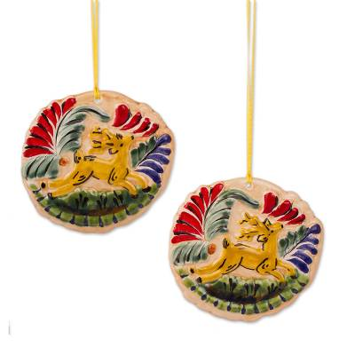 Ceramic Deer Ornaments in Yellow from Mexico (Pair)