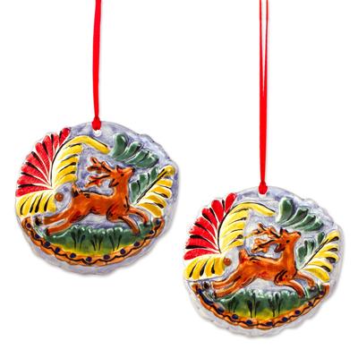 Ceramic Deer Ornaments in Orange from Mexico (Pair)