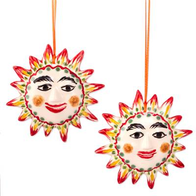 Artisanal Ceramic Sun Ornaments from Mexico (Pair)