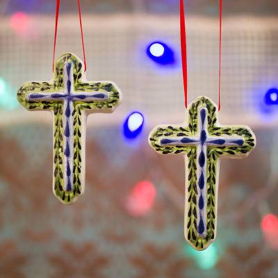 Ceramic ornaments, 'Deep Cross' (pair) - Blue and Green Ceramic Cross Ornaments from Mexico (Pair)
