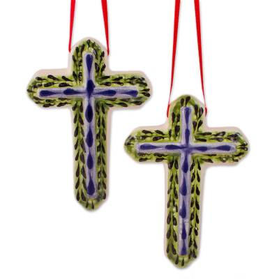 Blue and Green Ceramic Cross Ornaments from Mexico (Pair)
