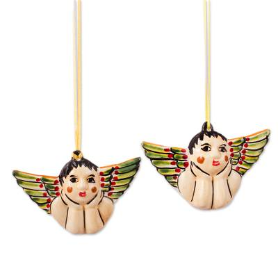 Ceramic Angel Ornaments Crafted in Mexico (Pair)