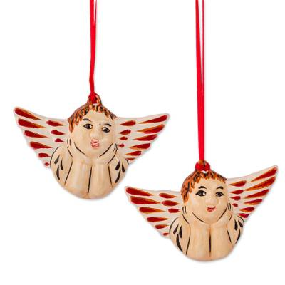 Beige and Red Ceramic Angel Ornaments from Mexico (Pair)