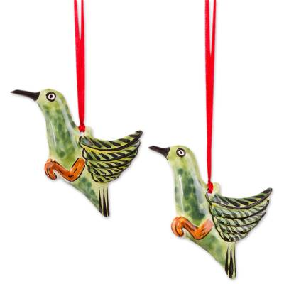 Ceramic Hummingbird Ornaments in Green from Mexico (Pair)