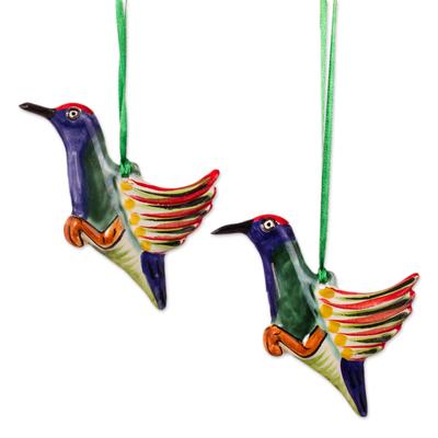 Artisan Crafted Ceramic Hummingbird Ornaments (Pair)