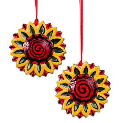 Artisan Crafted Ceramic Sunflower Ornaments (Pair)