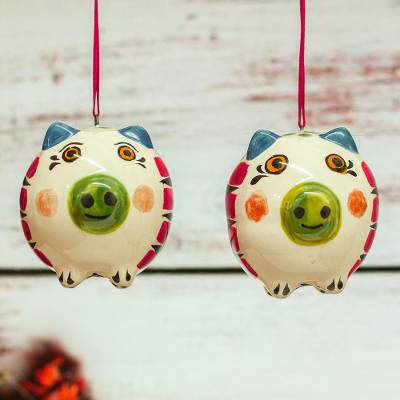 Ceramic ornaments, 'Holiday Pigs' (pair) - Hand-Painted Ceramic Pig Ornaments from Mexico (Pair)