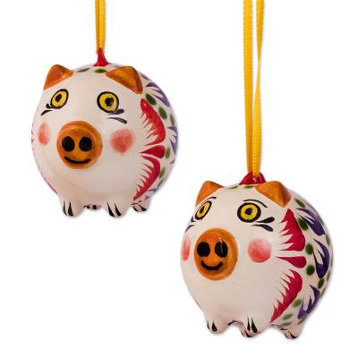 Blue and Green Ceramic Pig Ornaments from Mexico (Pair)
