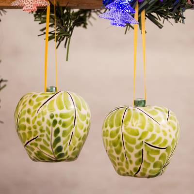 Ceramic ornaments, Green Apples (pair)